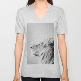 Lion Portrait - Black & White Unisex V-Neck