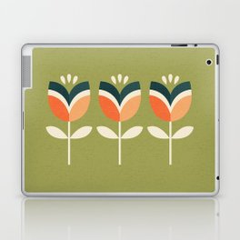 RETRO TULIP - ORANGE AND OLIVE GREEN Laptop & iPad Skin