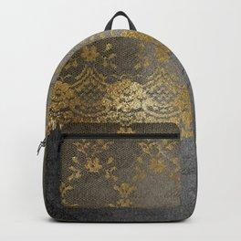 Pure elegance I- gold glitter luxury lace on black grunge background Backpack