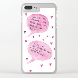 shoutout to straight boys who need to work on themselves Clear iPhone Case