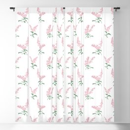 Pink Lilacs Springtime Pattern Illustration Blackout Curtain