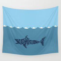 sharks Wall Tapestries featuring Sea Sharks by Juan Carlos Campos
