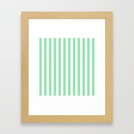 Large Mint Green and White Vertical Cabana Tent Stripes Framed Art Print