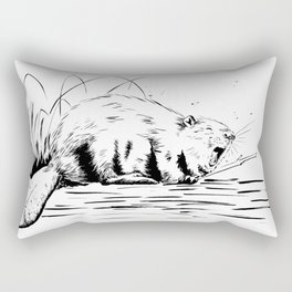 Beaver Yawn Rectangular Pillow