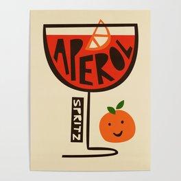 Aperol Spritz Cocktail Print Poster