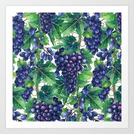 Watrercolor grapes Art Print
