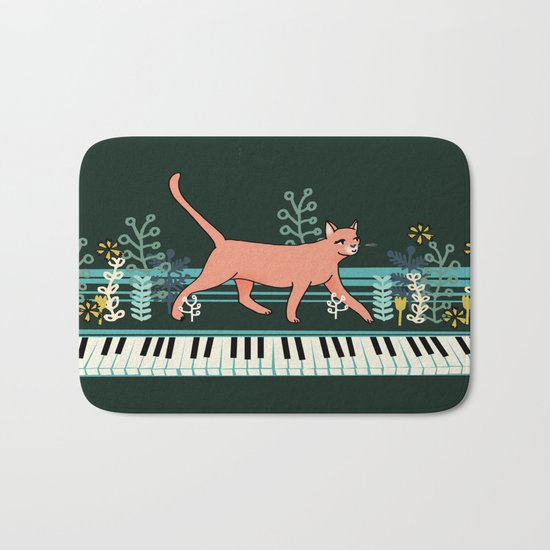 Kitten on the Keys Bath Mat