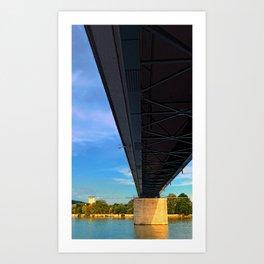 Bridge across the river Danube III   architectural photography Art Print