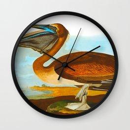 Brown Pelican Illustration Wall Clock