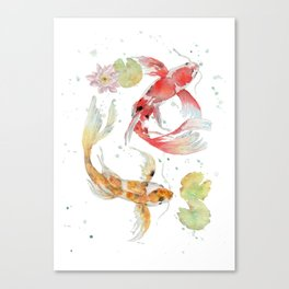"""Watercolor Painting of Picture """"Koi Pond"""" Canvas Print"""