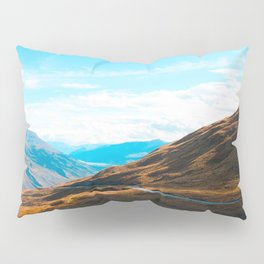 Western Landscape Orange Grass Fields Mountain Canyon Pillow Sham