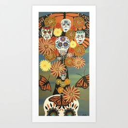 The Monarch's Tree of Life and the Dead - Day of the Dead Painting Art Print