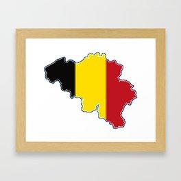 Belgium Map with Belgian Flag Framed Art Print
