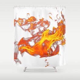 Can Walk on volcano Fire, white background Shower Curtain