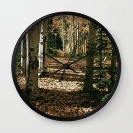 Fall Aspen Tree Hike by OLena Art Wall Clock