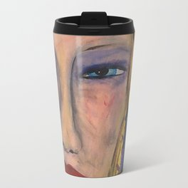 Abstract Portrait Face of an Angry Woman outsider visionary artist Travel Mug