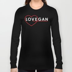 Lovegan (Love Vegan), on black Long Sleeve T-shirt