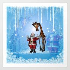 Santa Claus with funny giraffe Art Print