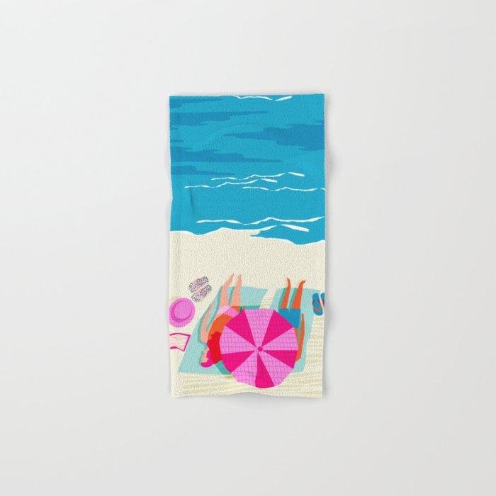 Toasty - memphis throwback minimal retro neon beach surfing suntan waves ocean socal pop art Hand & Bath Towel