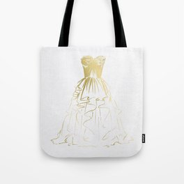 Little Gold Ball Gown Dress Tote Bag