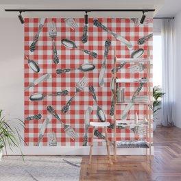 Utensils on Red Picnic Blanket Wall Mural