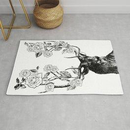The Stag and Roses | Deer and Flowers | Vintage Stag | Vintage Deer | Antlers | Black and White | Rug