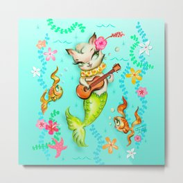 Mermaid Cat with Ukulele Metal Print