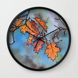 Oak Leaves in Autumn Wall Clock