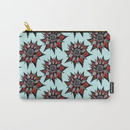 Spiked Abstract Flower In Red And Black Carry-All Pouch