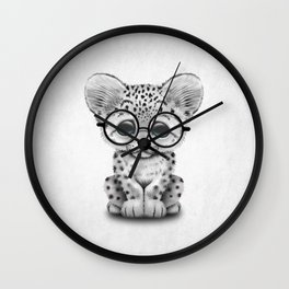 Cute Snow Leopard Cub Wearing Glasses Wall Clock