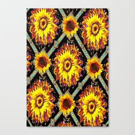 Sunflowers in a Abstract Western  Black Pattern Canvas Print