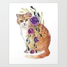 cat with flower boa Art Print