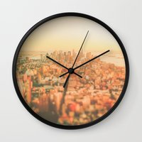 new york city Wall Clocks featuring New York City Sunset by Vivienne Gucwa