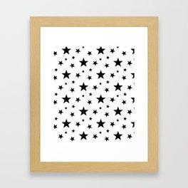 Stars pattern White and Black Framed Art Print