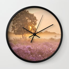 I - Fog over blooming heather near Hilversum, The Netherlands at sunrise Wall Clock