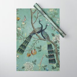 A Teal of Two Birds Chinoiserie Wrapping Paper