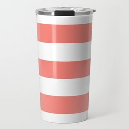 Congo pink - solid color - white stripes pattern Travel Mug