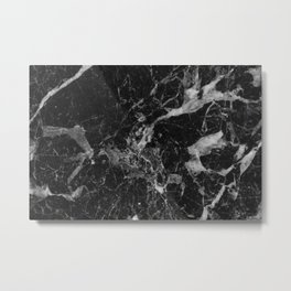 Black and Gray Marble Pattern Metal Print