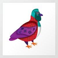 HIPSTER PIDGEON Art Print