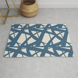 Blue & Linen White Abstract Mosaic Pattern 3 Pairs To 2020 Color of the Year Chinese Porcelain Rug
