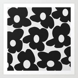 Black Retro Flowers White Background #decor #society6 #buyart Art Print
