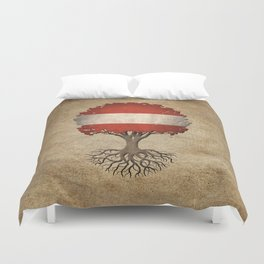 Vintage Tree of Life with Flag of Austria Duvet Cover