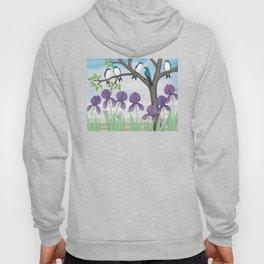 tree swallows & irises Hoody