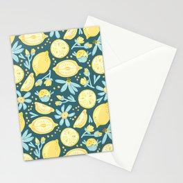 Lemon Pattern Green Stationery Cards