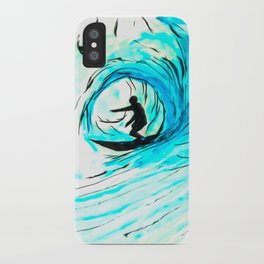 Lone Surfer Tubing the Big Blue Wave iPhone Case