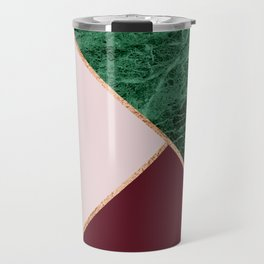 Green Marble with burgundy Travel Mug