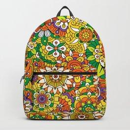 Funky Vintage Retro 70s Golden Hippie Flower Pattern Backpack