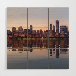 Panorama of the City skyline of Chicago Wood Wall Art