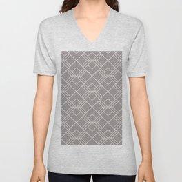 Modern geometry gray blush pink abstract pattern Unisex V-Neck