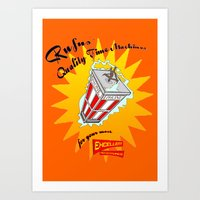 discount Art Prints featuring Rufus' Discount Time Machines. by WayneT37